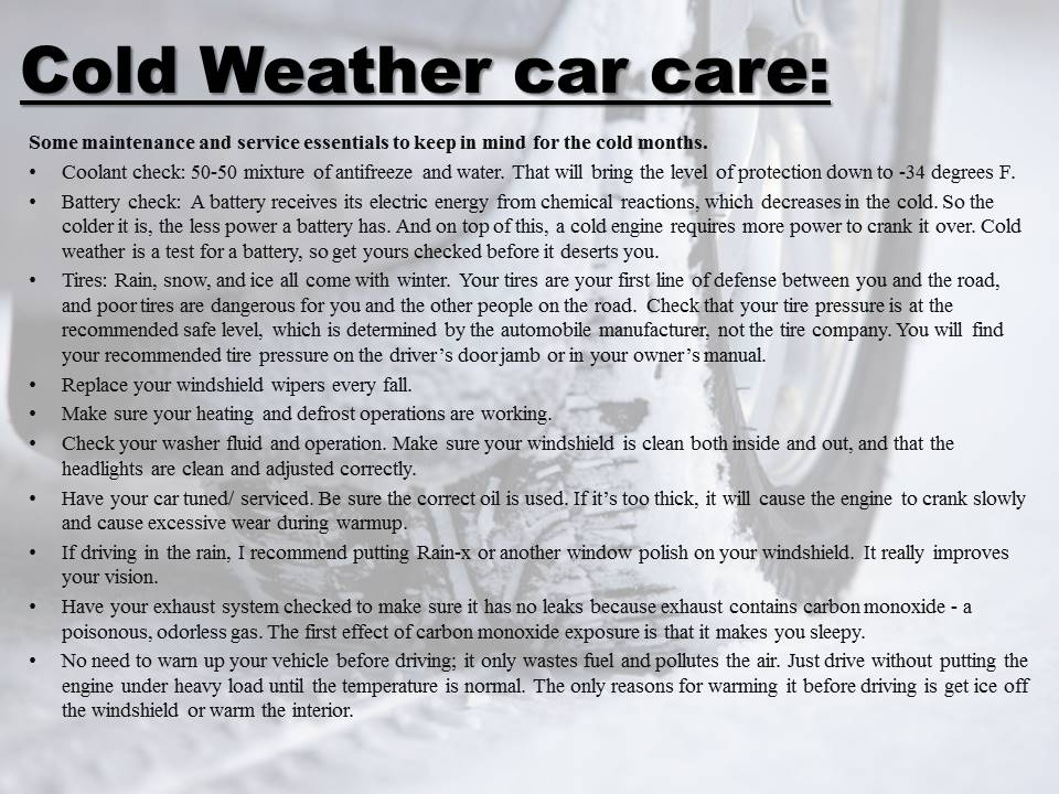 How to car for your car during the winter!